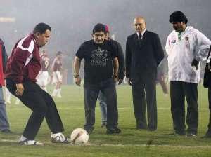 Hugo Chávez y Maradona en San Cristóbal, allá por 2007.