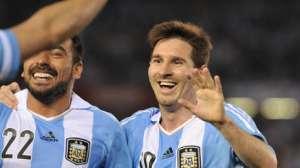Leo Messi celebra ante Venezuela. (Télam)